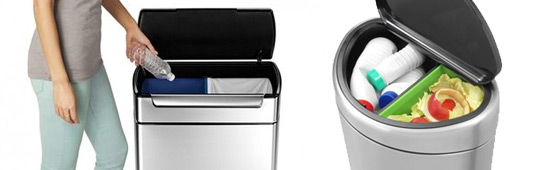 Dubbele prullenbakken voor afvalscheiding